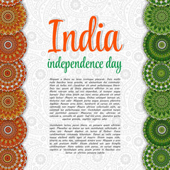 Creative Indian Independence Day concept with mandal decorative floral pattern in national flag tricolors.