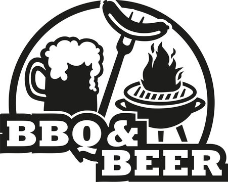 BBQ and beer with grill and sausage