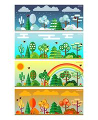 4 seasons park flat style set illustration. Vector