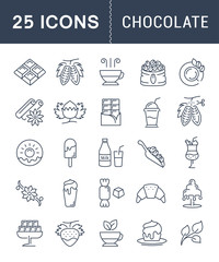 Set Vector Flat Line Icons Chocolate