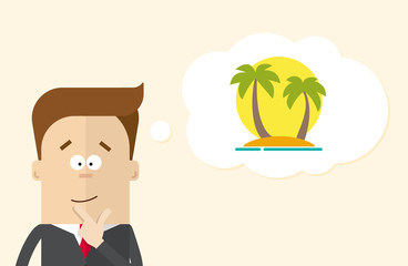 Happy businessman or manager imagines vacation on the island. A man in a business suit thinking about vacation. Silhouette of palm trees against the sun. The man close up.