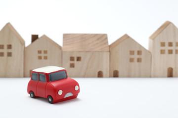 おもちゃの家と車  カーシェアリングのイメージ