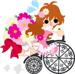 A cute little girl and the bicycle of cosmos