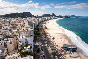 Wall Mural - Famous Copacabana Beach View with Sugarloaf Mountain in the Horizon