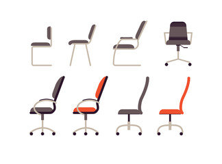 Set of office furniture. Collection different working chairs and chairs in flat style