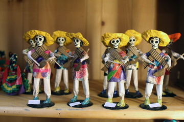 Mexican skeleton dolls depicting 'Dia de Los Muertos' (Day of the Dead) celebrations