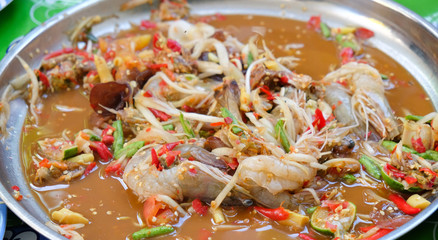 Som Tum with pickled fish and shrimp