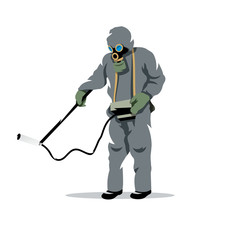 Vector Bio hazard protection Cartoon Illustration.