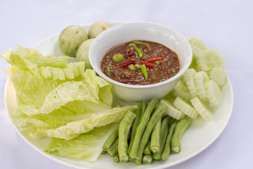 Paste chili with fresh vegetables, Thai traditional food.