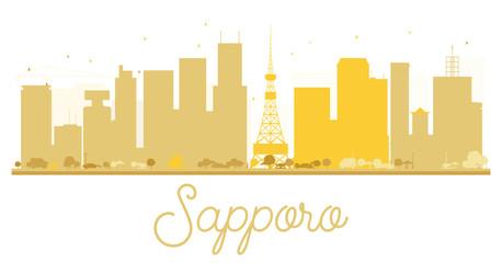 Sapporo City skyline golden silhouette.