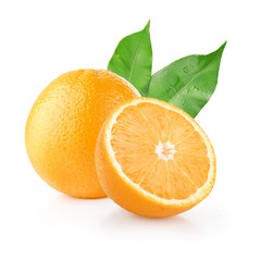 Isolated fresh oranges on white background. Citrus tropical fruit. One, a half and a segment. Healthy juicy snack.