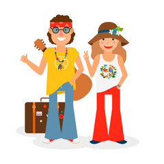 Hippie couple hitchhiking with guitar and suitcase. Vector colored icon on white backround