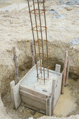 metal foundation post in construction site