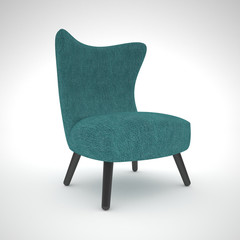 Isolated aquamarine armchair