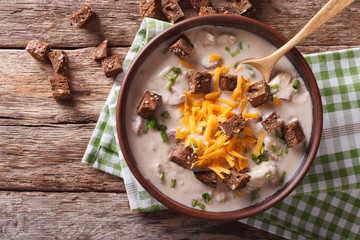 Bavarian beer soup with cheese and bacon close up in a bowl. horizontal top view