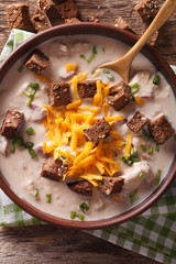 beer soup with bacon, cheddar cheese and croutons macro. vertical top view