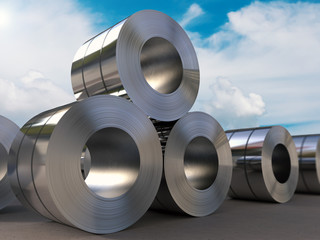 roll of steel sheet with blue sky background