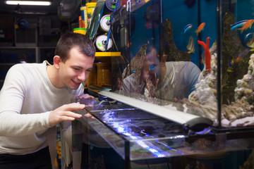 man selecting tropical fish
