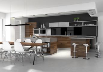 Einbauküche mit Kochinsel und Essbereich