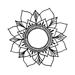 Flower mandala for cards, prints, textile and coloring books