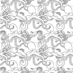 Detailed seamless pattern with mollusks.