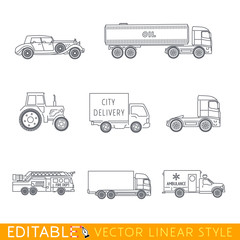 Transportation icon set include Old luxury car Road tanker Tractor City delivery Fire truck Lorry and Ambulance. Editable vector graphic in linear style.