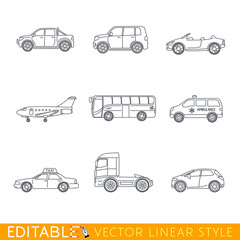 Transportation icon set include Ambulance Semi truck Taxi Business jet Pickup Crossover Bus Minivan and Cabriolet. Editable vector graphic in linear style.