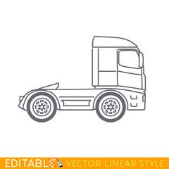 Truck lorry, tir. Editable vector icon in linear style.