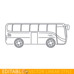 Tourist bus. Editable vector icon in linear style.