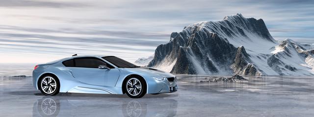Luxuriöses Elektroauto in einer Naturlandschaft