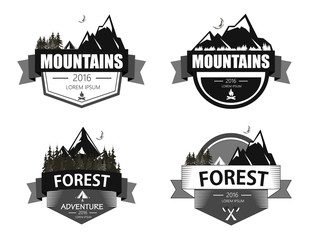 Set of mountain, forest adventure and expedition logo badges