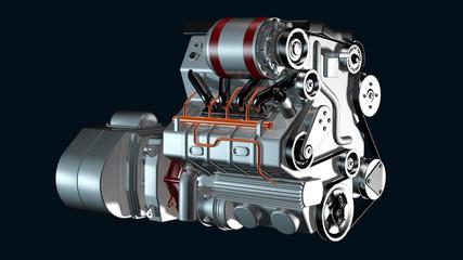 Ansicht eines Hybridmotors zum PKW-Antrieb