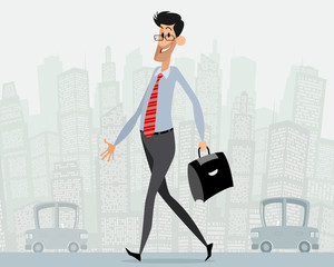 Businessman with briefcase goes