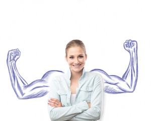 Pretty young woman with sketched strong and muscled arms behind