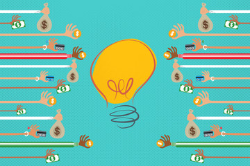 Crowdfunding concept with many hands giving money to a light bulb idea.