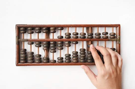Vintage abacus on white background