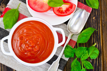 Tomato Soup in Plate. National Italian Cuisine