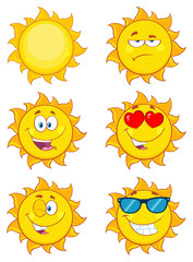Sun Cartoon Mascot Characters. Set Collection Isolated On White