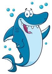 Happy Blue Shark Cartoon Mascot Character Waving For Greeting