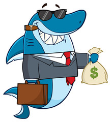 Smiling Business Shark Cartoon Mascot Character In Suit, Carrying A Briefcase And Holding A Money Bag
