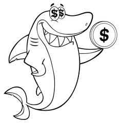 Black And White Greedy Shark Cartoon Mascot Character Holding A Dollar Coin