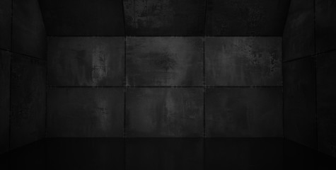 Super Black Tiled Room with Reflective Floor - 3D Illustration
