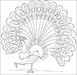 Page with black and white illustration of fantasy peacock for coloring. Developing children skills for drawing. Vector image.