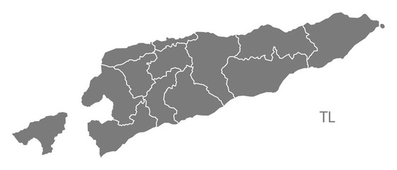 East Timor districts Map grey