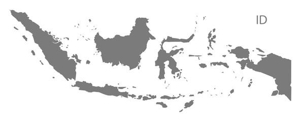 Indonesia Map grey