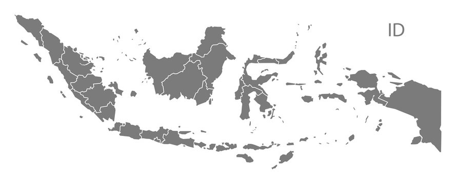 Indonesia provinces Map grey