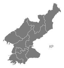 North Korea provinces Map grey