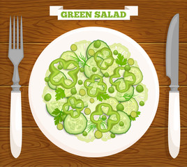 Fresh green salad on a plate top view. Vector illustration of a healthy meal of vegetables.