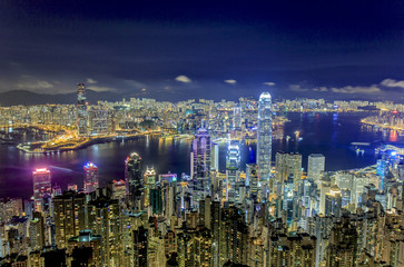 Top View of Victoria Harbour in Hong Kong at Night