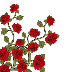 Flower branch roses, bouquet of flowers. Ornament with red roses. Floral print. Floral frame, flower card, border of flowers, banner, decoration. Vector floral background